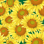Floral vector seamless background with sunflowers — Stock Vector