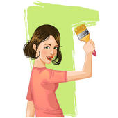 Woman paints the wall — Stock Vector