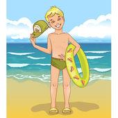 小男孩与一个游泳圈 — 图库矢量图片