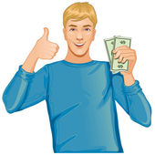 Young man with money in hand — Stock Vector
