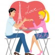 Stock Vector: Couple in café