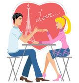 Couple in café — Stock Vector