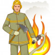 Stock Vector: Firefighter with fire hose and axe against fire, eps10