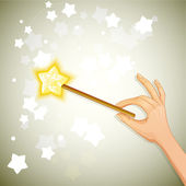 Hand holding magic wand, eps10 — Stock Vector