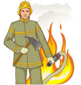 Firefighter with a fire hose and axe against a fire, eps10 — Stock Vector