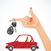 Woman hand with auto key and red car on the background, esp10 — Stock Vector