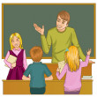 Teacher at blackboard in classroom with children — Stock Vector