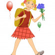 Girl on his way to school — Stock Vector