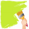 Hand with brush paints the wall — Stock Vector