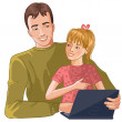 Stock Vector: Father and daughter working with laptop