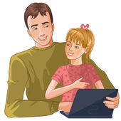 Father and daughter working with laptop — Stock Vector