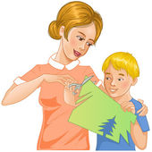 Mother helps son to cut color paper and make applique' work — Stock Vector
