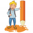 Stock Vector: Cartoon schoolboy near big pencil, esp10