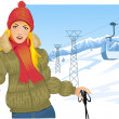 Stock Vector: Girl with skis on background with cable-way