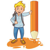 Cartoon schoolboy near big pencil, esp10 — Stock Vector