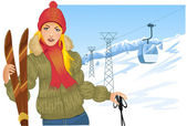 Girl with skis on the background with cable-way — Stock Vector