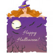 Halloween witch with message board and halloween background — Imagen vectorial