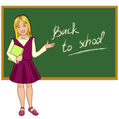 Schoolgirl at blackboard — Stock Vector