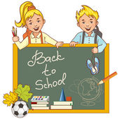 Cartoon schoolgirl and schoolboy at the blackboard and stationery, esp10 — Stock Vector