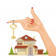 Woman hand with house key and cottage on the background, eps10 — Stock Vector