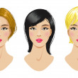 Hairstyles set of blonde, brunette, light brown woman — Stock Vector