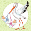 Stock Vector: Baby greetings card with stork and twins