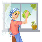 Woman washes window, eps10 — Stock Vector