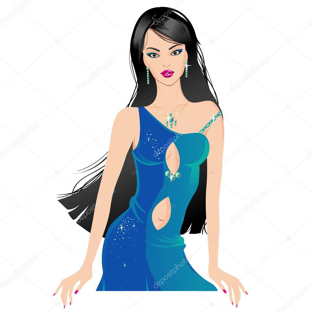Самые красивые девушки брюнетки в платьях 23 фотография
