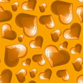 Seamless background with golden shining hearts — Stock Vector