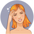 Stock Vector: Ill girl complaints about headache