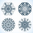 Stock Vector: Collection of Snowflakes with horse, symbol of 2014 new year