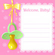 Baby greetings card with pacifier, EPS10 — Stock Vector