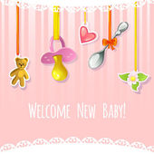Baby greetings card with pacifier, spoon, heart, teddy bear and flower label, EPS10 — Stock Vector