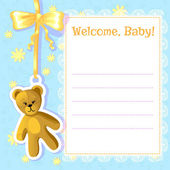 Baby greetings card with teddy bear, EPS10 — Stock Vector