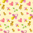 Seamless baby pattern with pacifier, heart, teddy bear and flower — Imagen vectorial