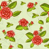 Gül ile sorunsuz çiçek desenli — Stok Vektör