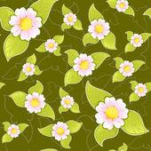 Koyu arka plan üzerinde sorunsuz çiçek desenli — Stok Vektör