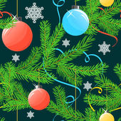 Seamless Christmas background with tree and balls — Stock Vector