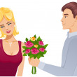 Young couple. Man gives a bouquet of roses to woman — Stock Vector #35682757