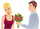 Young couple. Man gives a bouquet of roses to woman — Stock Vector