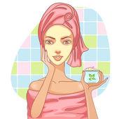 Girl applying cream in the bath — Stock Vector
