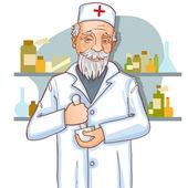 Starý doktor s Maltou — Stock vektor