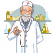 Old doctor with stethoscope, eps10 — Stock Vector