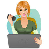 Young woman at laptop with mobile — Stock Vector