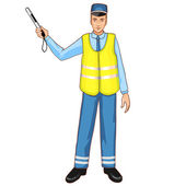 Young traffic-controller with rod, eps10 — Stock Vector