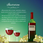 Background with bottle of wine and grapes for invitation — Stock Vector