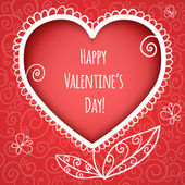 Decorative red heart for Valentines Day on red background with swirls, eps10 — 图库矢量图片
