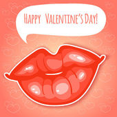 Decorative card with lips for Valentines Day, eps10 — Stock Vector