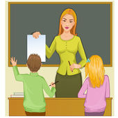Teacher and children at blackboard, eps10 — Stock Vector