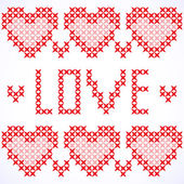 Decorative card with cross-stitched hearts — Stock Vector